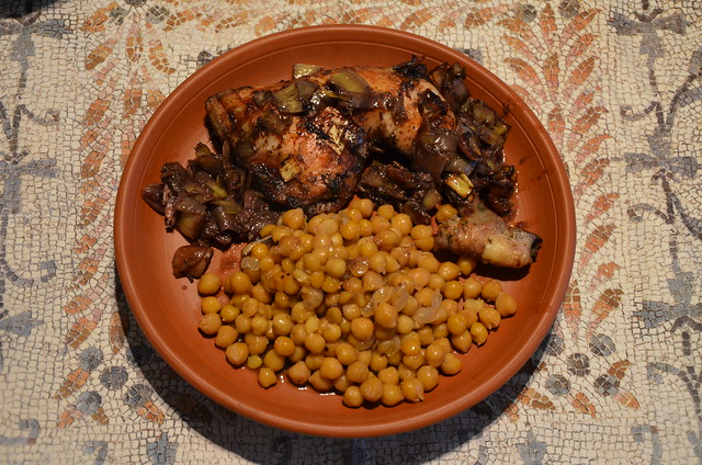 Parthian Chicken & Chickpeas accompanied with Date Paste and Roman red wine