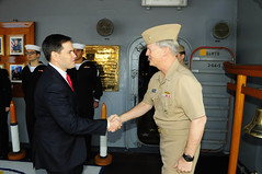 U.S. Sen. Marco Rubio is greeted by Vice Adm. Robert L. Thomas Jr., commander of U.S. 7th Fleet, on the quarterdeck of the flagship USS Blue Ridge (LCC 19) during a visit to Fleet Activities Yokosuka, Jan. 21. (U.S. Navy photo by Mass Communication Specialist 1st Class Joshua Karsten)