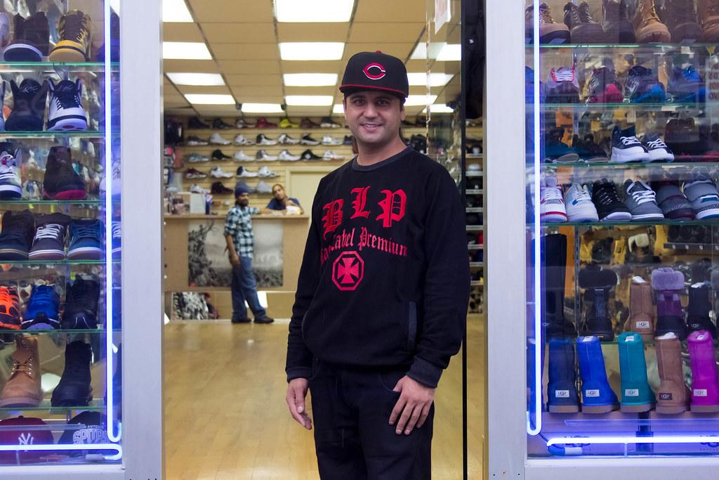 A shoe shop employee in Sunset Park, Brooklyn.