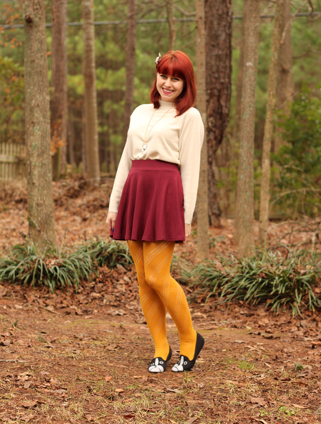 Mock Turtleneck Sweater, Maroon Skater Skirt, Yellow Tights, & Boston Terrier Flats