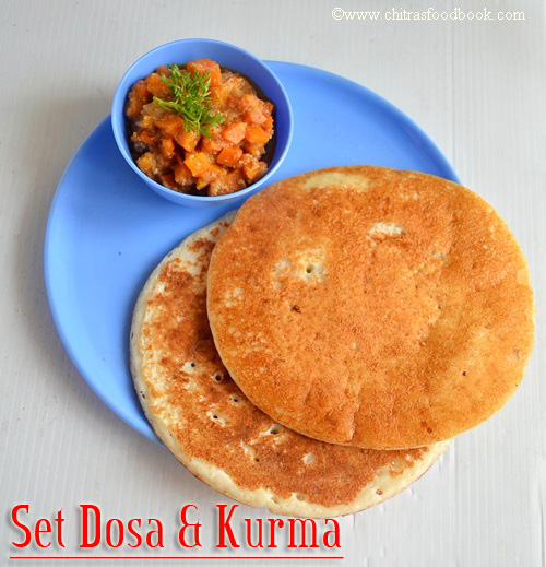 Set dosa & carrot kurma recipe
