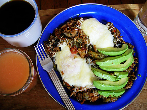 parmesan baked eggs in extra dirty eggplant rice with avocado, water, coffee, and grapefruit juice
