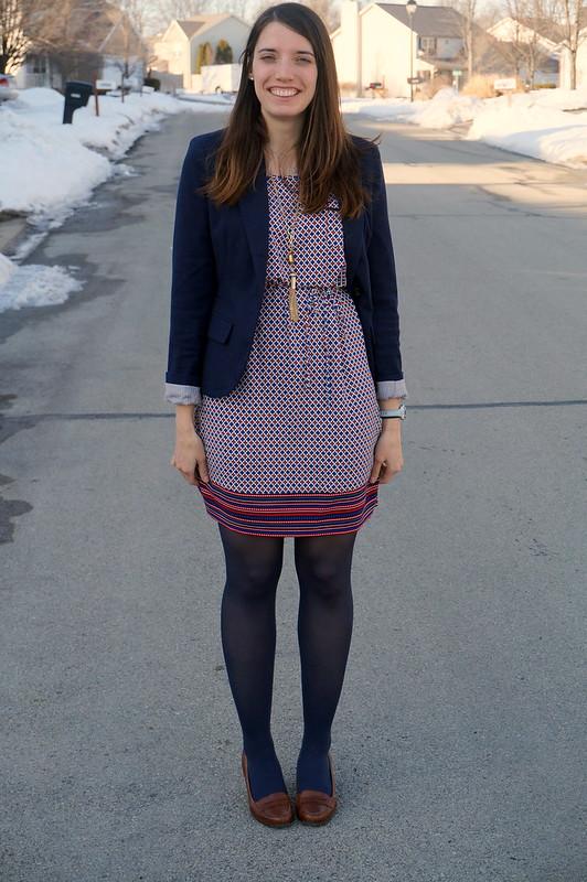 navy Merona blazer with print dress