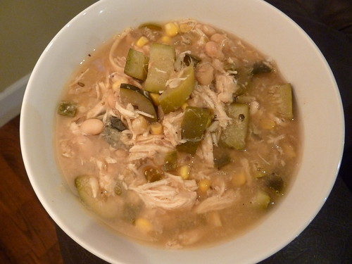 CrockPot White Bean Chicken Chili with Zucchini