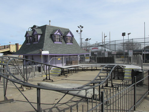 The outdoor seasonal attractions closed for the winter off season at the Haunted Trais Family Amusemen Center.  Bridgeview Illinois.  March 2014. by Eddie from Chicago
