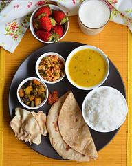 aloo bhendi fry, phulka, dal, paneer bhurji