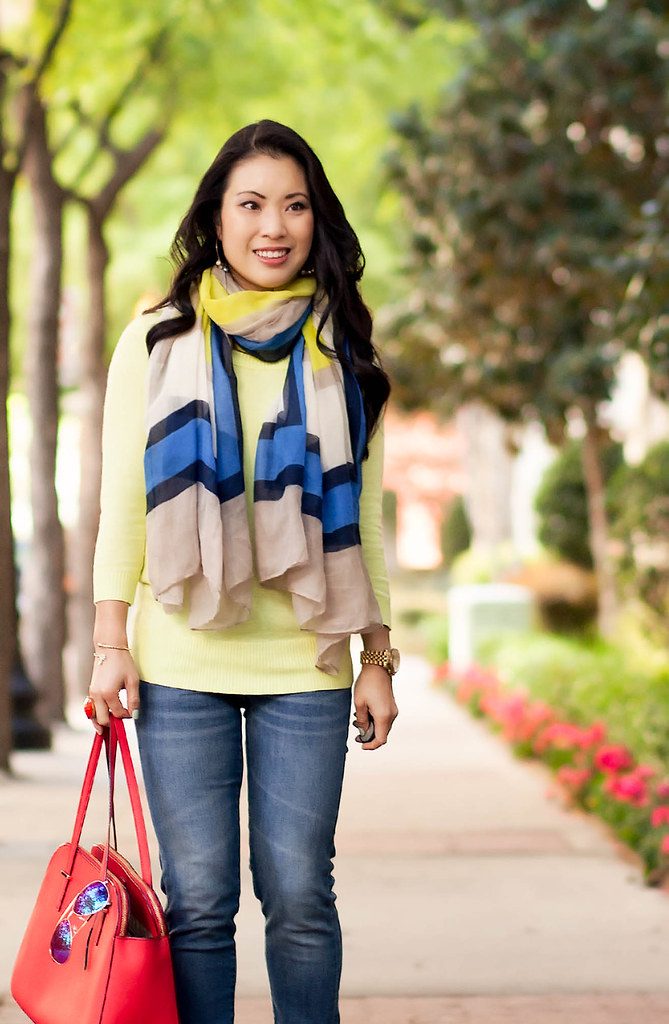 cute & little blog   petite fashion   spring outfit   neon yellow sweater, cobalt colorblock scarf, rolled jeans, red kate spade elissa bag