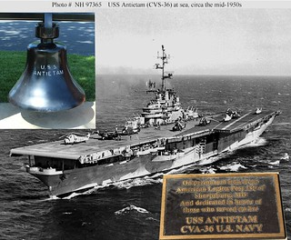 USS Antietam  CVS-36 This photoshopped picture shows the The Carrier that the bell was on. The bell and plaque are thanks to my wife who took the photos