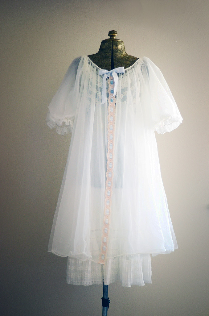 Vintage White Slip Nightgown and Robe with Pink Lace and Blue Ribbon, Size Medium - Large