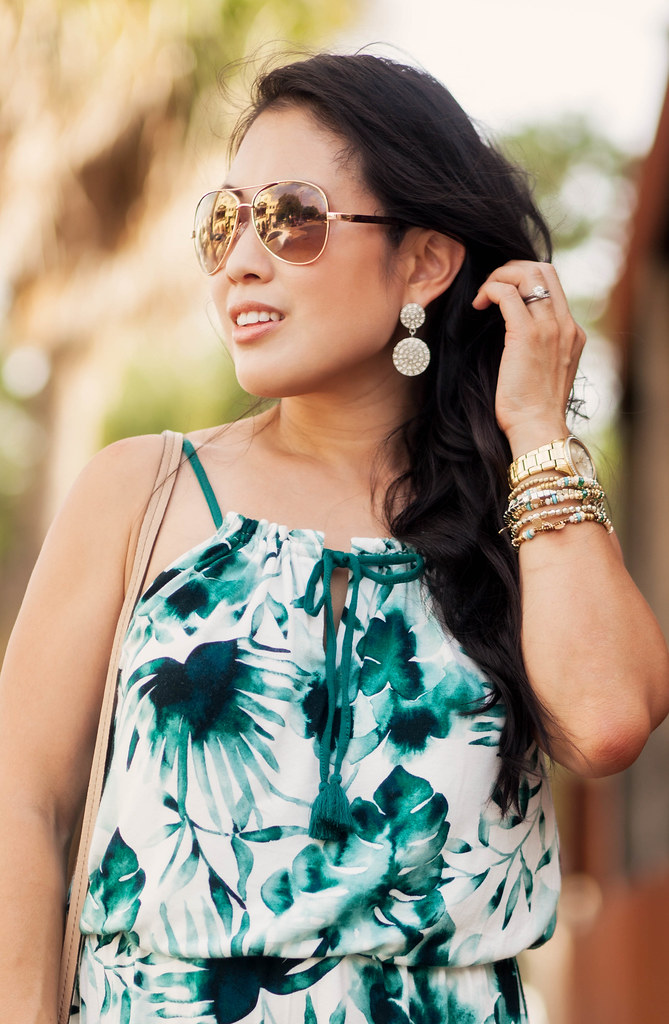 cute & little blog | palm print dress, bucket bag, brown gradiant aviators, crystal statement earrings | summer outfit