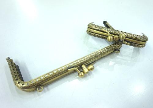 細壓花方形三格口金-古銅8.5cm附紙型 手工藝材料配件 SA008017-2