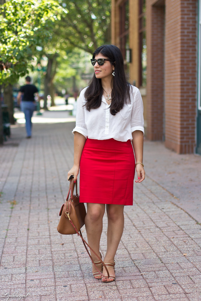 white popover, red pencil skirt, brown bag and sandals-3.jpg