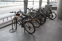 Parked bicycles in the racks at Southern Cross Station