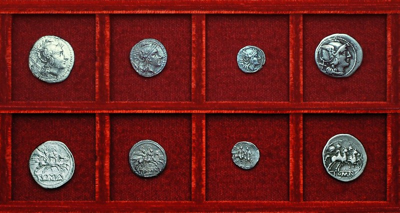 RRC 045 incuse-legend anonymous denarius, quinarius, sestertius, RRC 46 denarius Ahala collection, coins of the Roman Republic