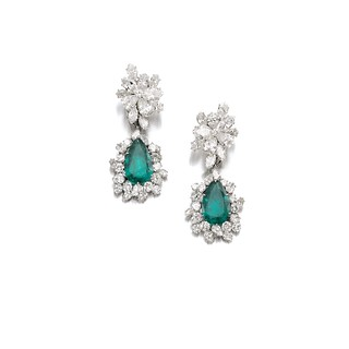 Lot 659- Emerald & Diamond Ear Clips, Bulgari - G. Lollobrigida
