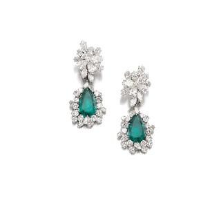Lot 659- Emerald & Diamond Ear Clips, Bulgari - G. Lollobrigida