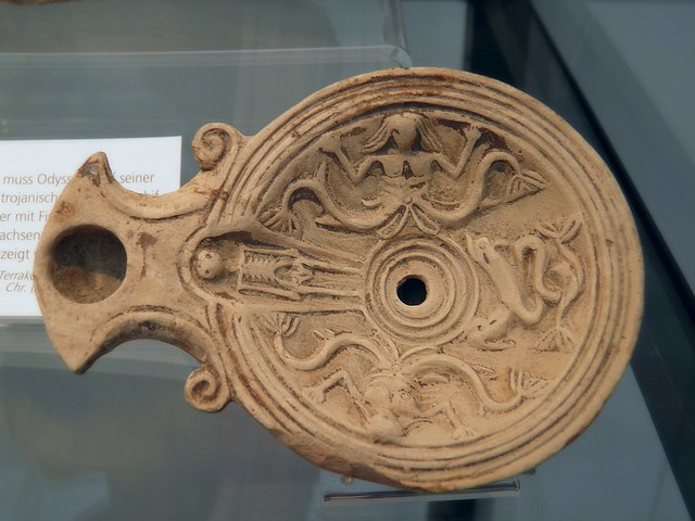 Oil lamp depicting Scylla a monstrous sea goddess, 2nd century AD, Staatliche Antikensammlungen, Munich