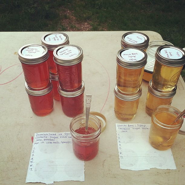 My offerings for tonight's food swap. Bourbon sweet tea and lemon basil syrups.