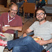 "BlogHer 2013, Chicago. Andy Herald (Howtobeadad.com) and Doug ""LOD"" French working the red sneaks. by Amy Windsor"