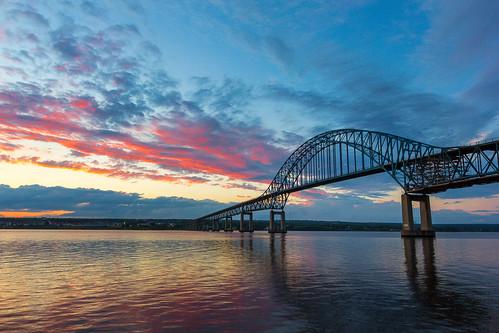 bridge sunset canada water clouds nb newbrunswick miramichi centennialbridge miramichiriver miramichicentennialbridge