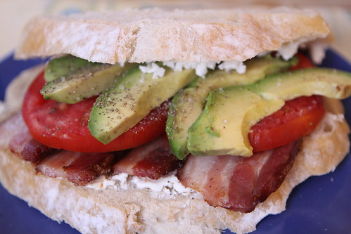 Bacon, Tomato, and Avocado Sandwich with Garlic Chive Goat Cheese
