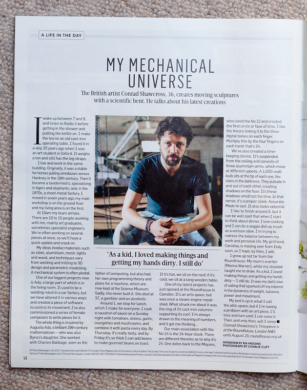Conrad Shawcross for The Sunday Times Magazine