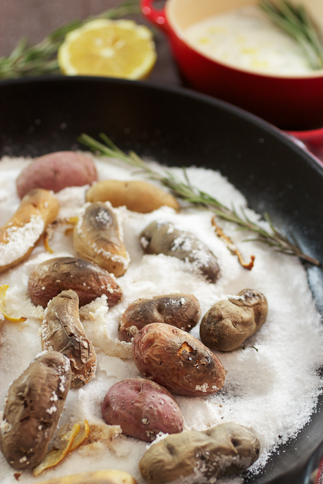 Lemon Rosemary Salt Roasted Fingerlings #potatoweek