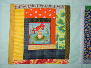 Friendly Frogs Log cabin block