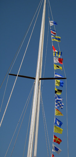 flags on a tall ship