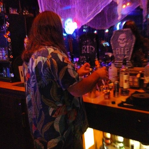 My pirate is bartending.