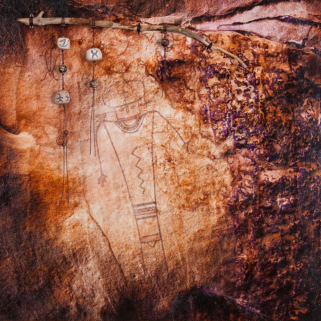 18 x 18 mixed media inspired by rocks and lichen in Headquarters Canyon, Utah plus nearby petroglyphs available - $395