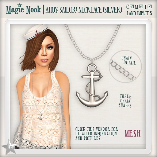 [MAGIC NOOK] Ahoy, Sailor! Necklace (Silver) MESH