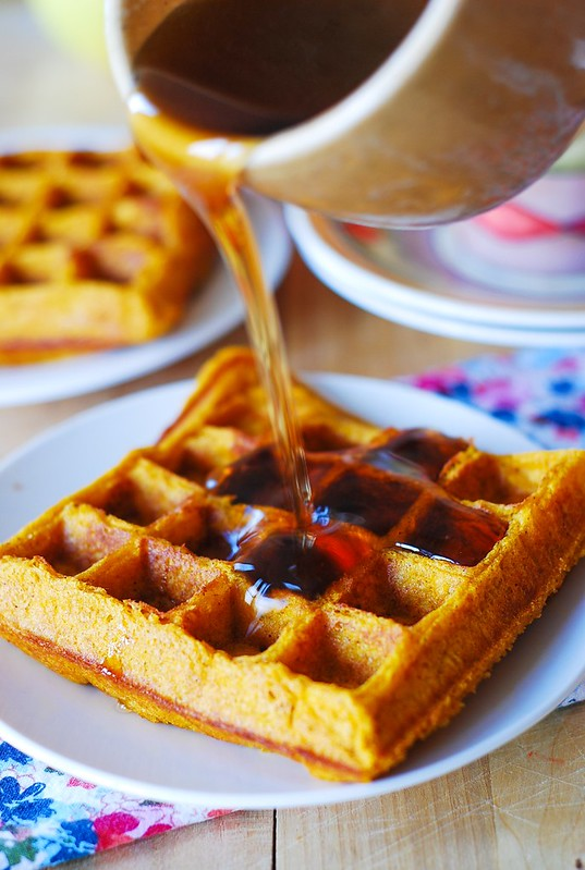 Pumpkin waffles with maple syrup, Thanksgiving recipes, Fall recipes, pumpkin recipes
