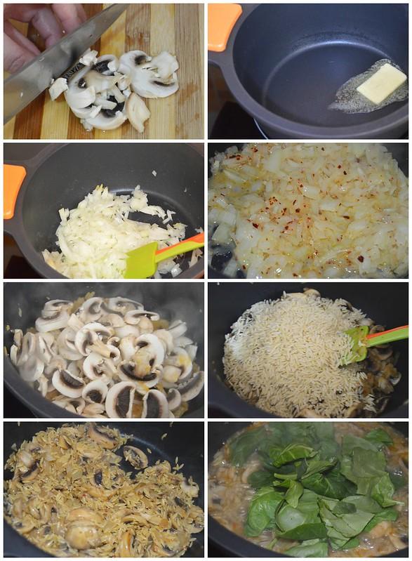 Orzo con espinacas y champiñones
