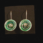 Number 26 - Carol Weir, Green Spiral, cloisonne enamel and silver earrings, starting bid $25