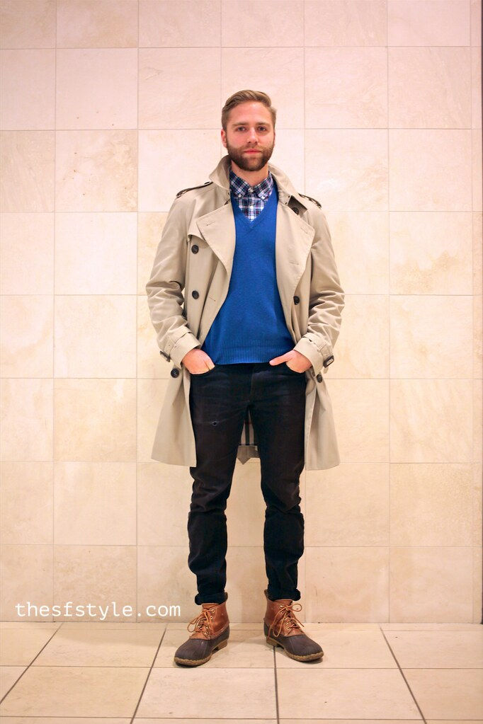 man morsel monday, san francisco streetstyle fashion blog, men's trench, duck boots,