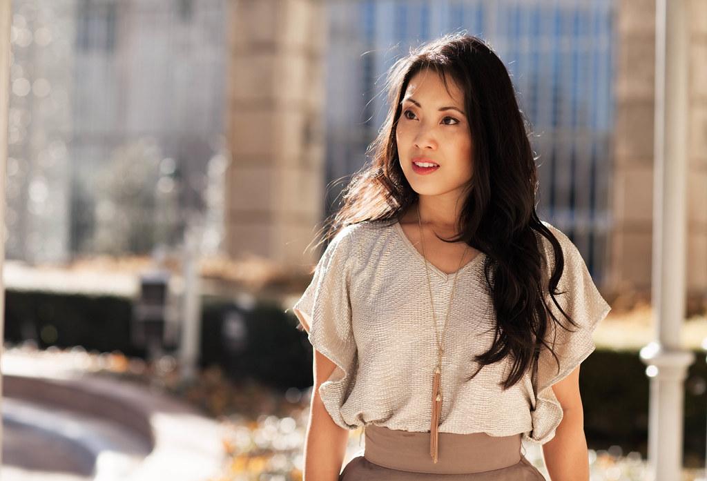 cute & little blog | gold foil ruffle top, taupe bubble skirt, tassel necklace, menbur sequin heels, fur coat outfit