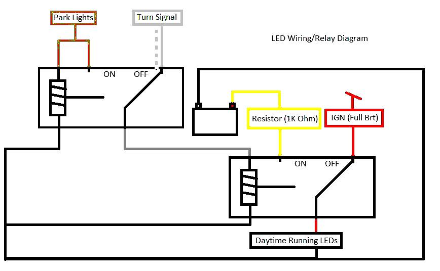 headlight relay wiring diagrams diy c300 led drls with relay diagram - mbworld.org forums headlight running light relay wiring diagrams #5