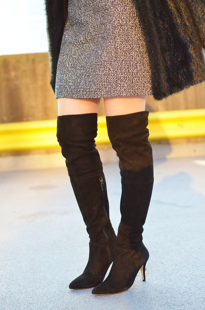 DUO suede over the knee black boots