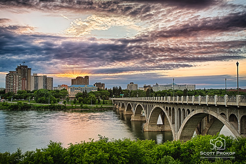 city bridge blue light sunset sky urban canada reflection building water skyline architecture modern night skyscraper river landscape hotel evening twilight downtown cityscape view outdoor dusk structure photoblog saskatoon transportation bessborough saskatchewan