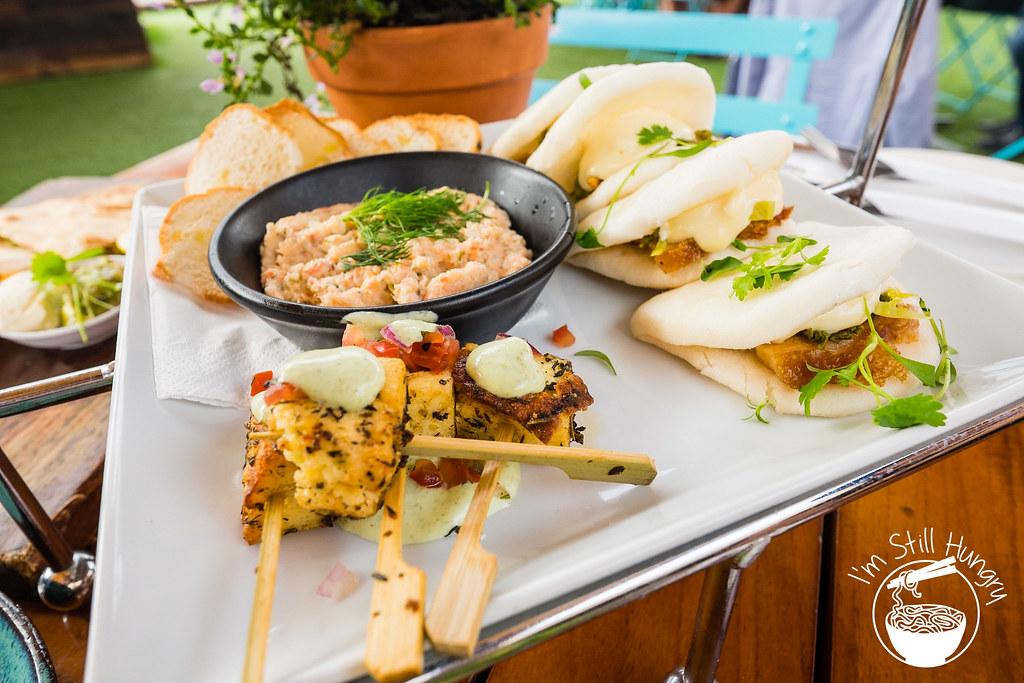 Opera bar Tasting plate part #2: blackened paneer skewers, king crab rilettes w/bread, pork belly buns