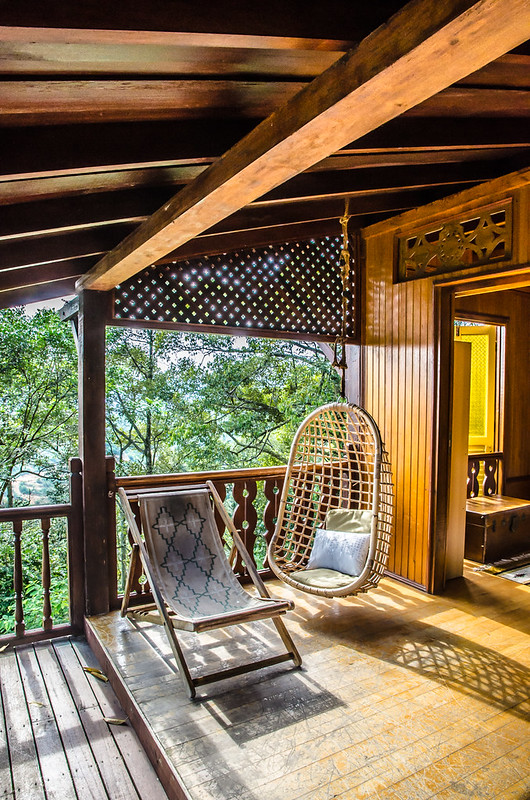 Rattan chairs in the Emas House at the Dusun