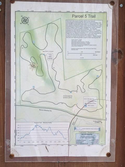 Map, Norwich, Parcel 5, Parcel Five Loop Trail, Sign, Vermont
