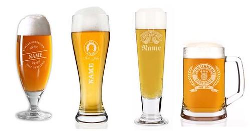 Personalisierte Biergläser mit Lasergravur