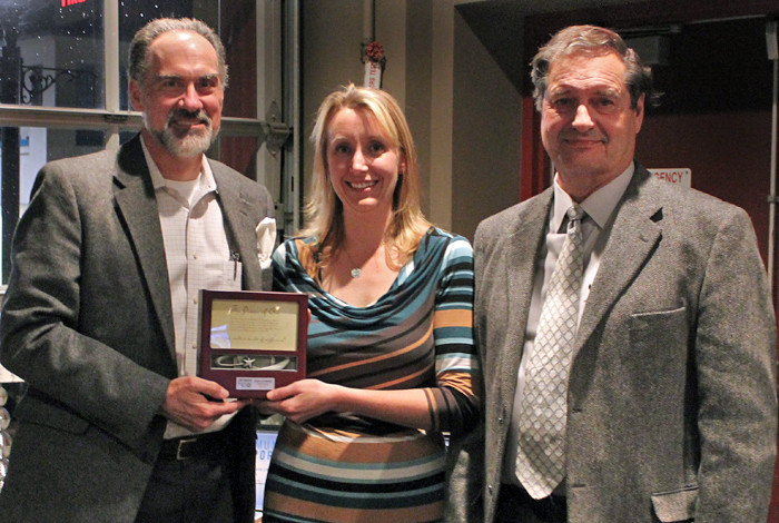 From left to right: Jerry Ethridge (LANS LLC director), Kristy Ortega (executive director of the United Way of Northern New Mexico) and Don Cobb (UWNNM board member) during the 2014 recognition of the Lab as a regional partner
