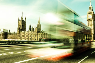 London Parliament and Big Ben with a bus in the front