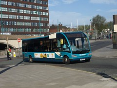 This Arriva liveried Solo is seen here deputising for a branded example on Stockport free bus 300.  16th April 2014, Stockport....