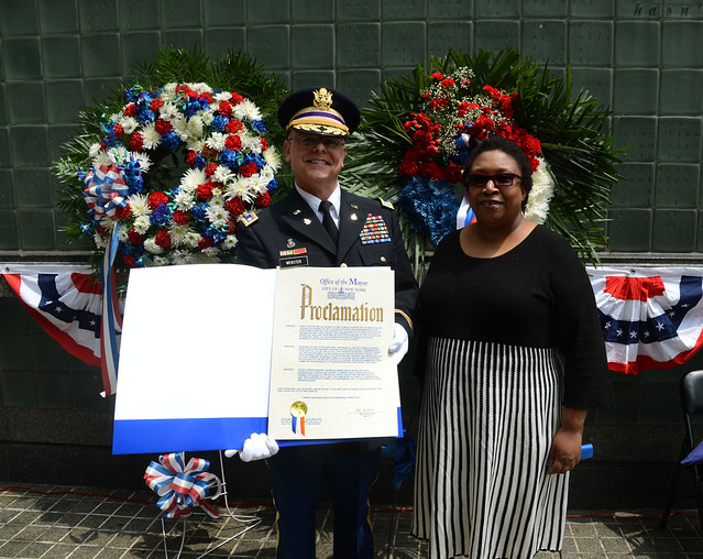 Webster Park, New York - The Transit Veterans Association held its annual Memorial Day ceremony on Fri., May 23, 2014 at Vietnam Veterans Memorial Park in lower Manhattan to remember the 155 employees and all Americans who lost their lives in combat.   Dwight Webster receives proclamation from the Mayor`s Office.  Photo: Marc A. Hermann / MTA New York City Transit