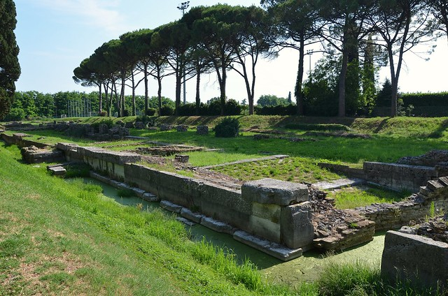 The western-side remains of the fluvial port of Aquileia, completely rebuilt in the Julio-Claudian age over Republican foundations along the right side of the Natiso River, Italy