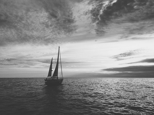 ocean sunset bw white black water boat sail throwbackthursday iphoneography vscocam uploaded:by=flickrmobile flickriosapp:filter=nofilter